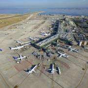 Vue aérienne, Aéroport Marseille Provence, Marignane, Bouches du Rhône (13), France