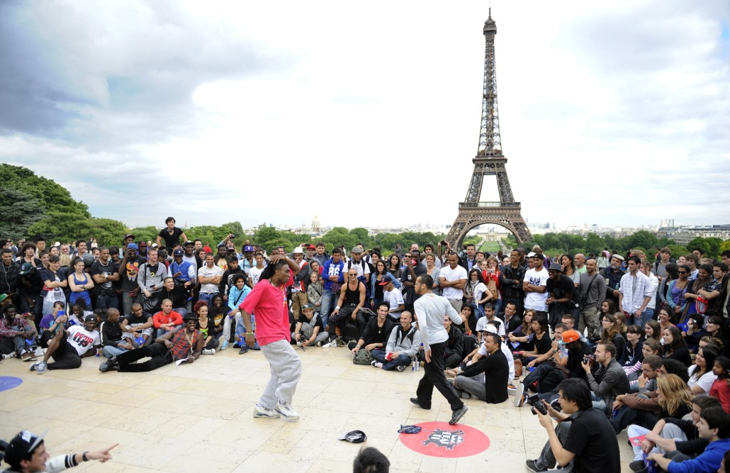 "Street dancers perform on June 21, 2011 in front of the Eiffel tower in Paris, as part of the 30th annual music event, ""La Fete de la Musique"". Thousands of musicians took to the streets and stages across France today for one of the nation's most popular festivals celebrating rhythm and sound.AFP PHOTO MIGUEL MEDINA (Photo credit should read MIGUEL MEDINA/AFP/Getty Images)"